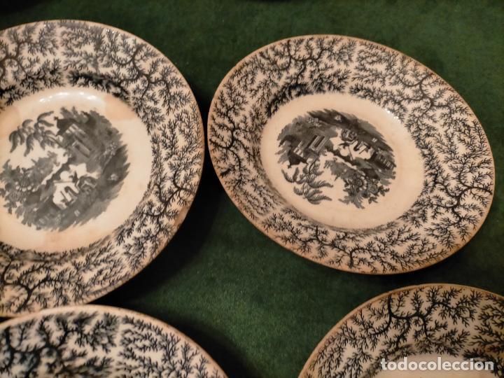 Antigüedades: Antiguos 6 plato / platos hondos de la Cartuja Pikman de Sevilla dibujo negro años 20-30 - Foto 22 - 235295325