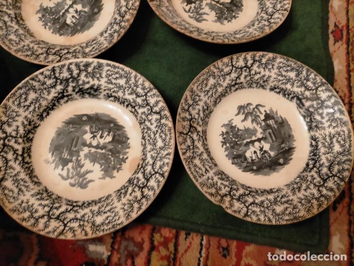 Antigüedades: Antiguos 6 plato / platos hondos de la Cartuja Pikman de Sevilla dibujo negro años 20-30 - Foto 23 - 235295325