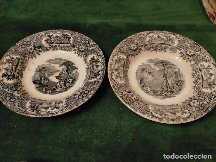 Antigüedades: Antiguos 6 plato / platos hondos de la Cartuja Pikman de Sevilla dibujo negro años 20-30 - Foto 26 - 235295325
