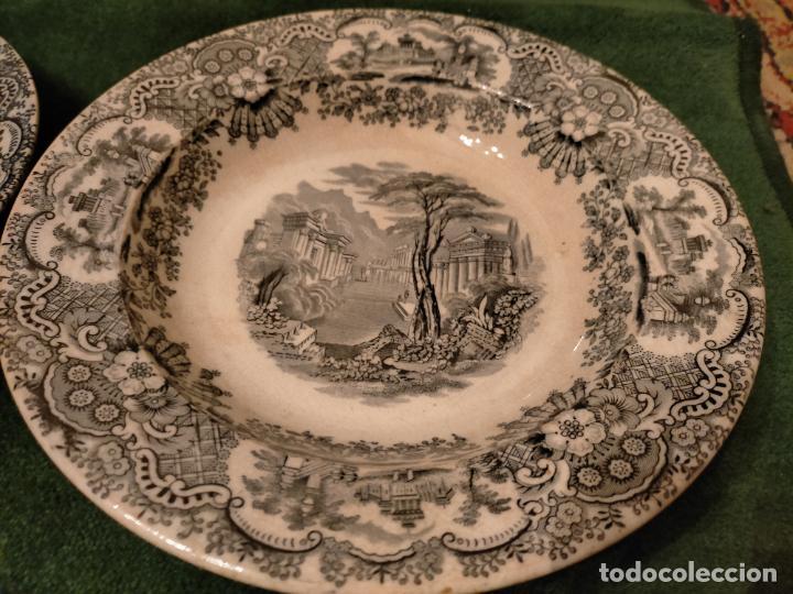 Antigüedades: Antiguos 6 plato / platos hondos de la Cartuja Pikman de Sevilla dibujo negro años 20-30 - Foto 27 - 235295325