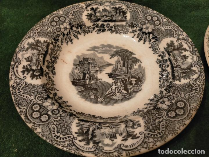 Antigüedades: Antiguos 6 plato / platos hondos de la Cartuja Pikman de Sevilla dibujo negro años 20-30 - Foto 28 - 235295325
