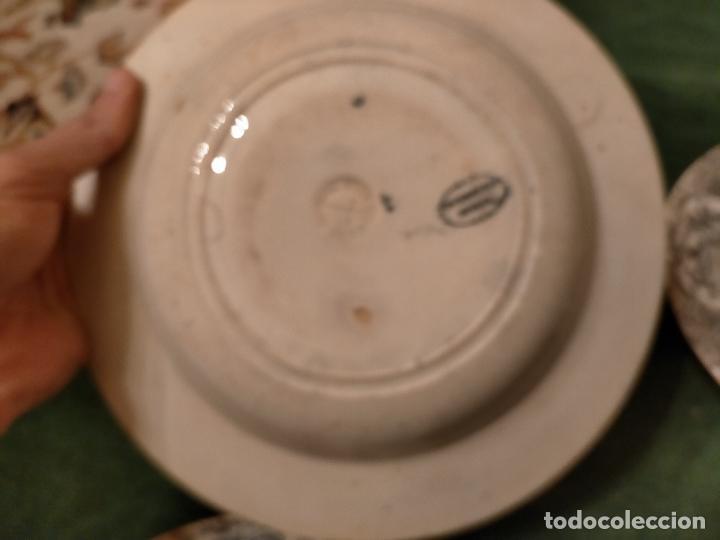 Antigüedades: Antiguos 6 plato / platos hondos de la Cartuja Pikman de Sevilla dibujo negro años 20-30 - Foto 30 - 235295325