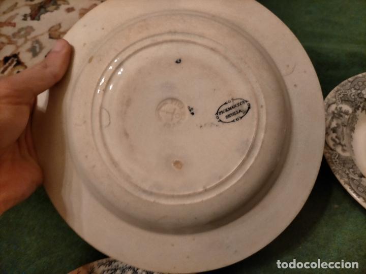 Antigüedades: Antiguos 6 plato / platos hondos de la Cartuja Pikman de Sevilla dibujo negro años 20-30 - Foto 31 - 235295325