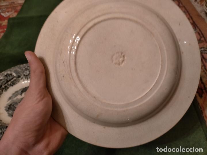 Antigüedades: Antiguos 6 plato / platos hondos de la Cartuja Pikman de Sevilla dibujo negro años 20-30 - Foto 32 - 235295325