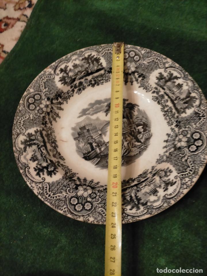 Antigüedades: Antiguos 6 plato / platos hondos de la Cartuja Pikman de Sevilla dibujo negro años 20-30 - Foto 33 - 235295325