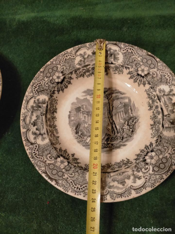 Antigüedades: Antiguos 6 plato / platos hondos de la Cartuja Pikman de Sevilla dibujo negro años 20-30 - Foto 34 - 235295325