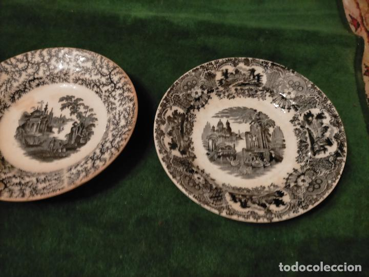 Antigüedades: Antiguos 6 plato / platos hondos de la Cartuja Pikman de Sevilla dibujo negro años 20-30 - Foto 35 - 235295325