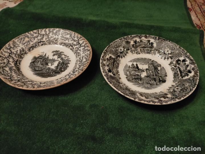 Antigüedades: Antiguos 6 plato / platos hondos de la Cartuja Pikman de Sevilla dibujo negro años 20-30 - Foto 36 - 235295325