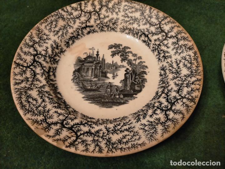 Antigüedades: Antiguos 6 plato / platos hondos de la Cartuja Pikman de Sevilla dibujo negro años 20-30 - Foto 37 - 235295325