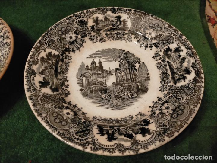 Antigüedades: Antiguos 6 plato / platos hondos de la Cartuja Pikman de Sevilla dibujo negro años 20-30 - Foto 38 - 235295325