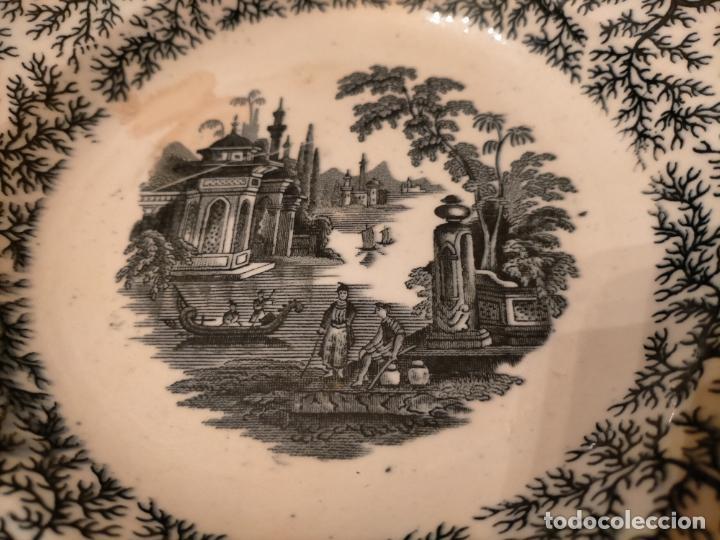 Antigüedades: Antiguos 6 plato / platos hondos de la Cartuja Pikman de Sevilla dibujo negro años 20-30 - Foto 39 - 235295325