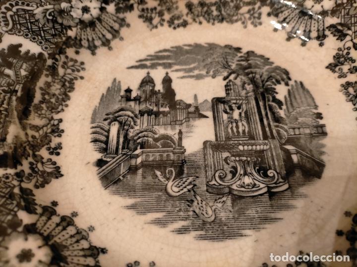 Antigüedades: Antiguos 6 plato / platos hondos de la Cartuja Pikman de Sevilla dibujo negro años 20-30 - Foto 40 - 235295325