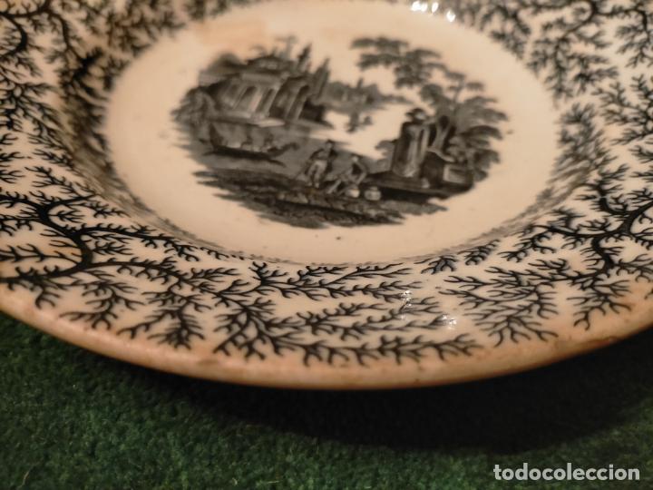 Antigüedades: Antiguos 6 plato / platos hondos de la Cartuja Pikman de Sevilla dibujo negro años 20-30 - Foto 41 - 235295325