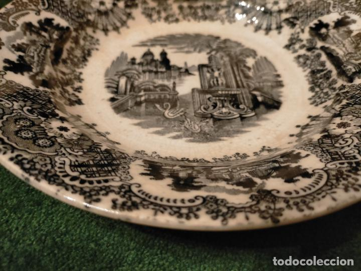 Antigüedades: Antiguos 6 plato / platos hondos de la Cartuja Pikman de Sevilla dibujo negro años 20-30 - Foto 42 - 235295325