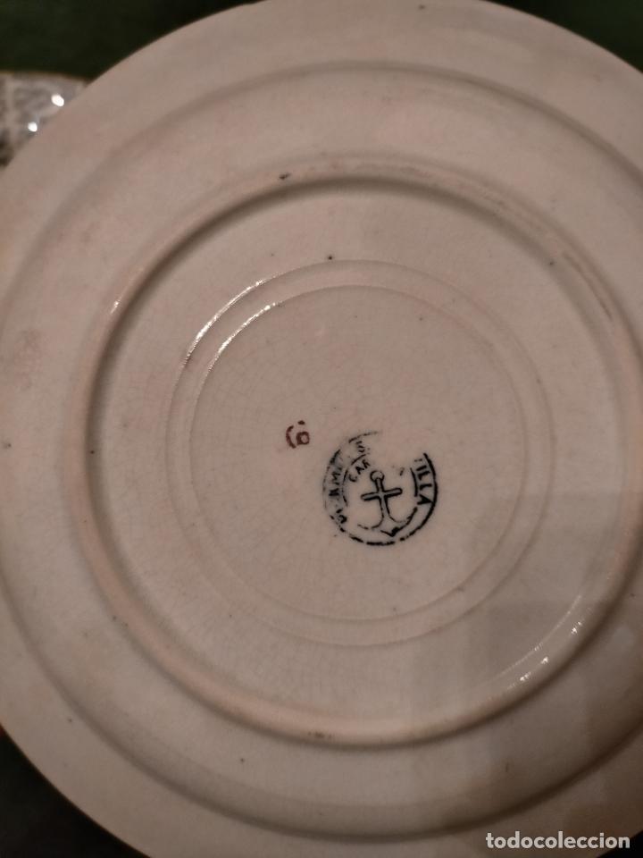Antigüedades: Antiguos 6 plato / platos hondos de la Cartuja Pikman de Sevilla dibujo negro años 20-30 - Foto 44 - 235295325