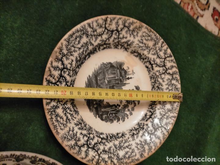 Antigüedades: Antiguos 6 plato / platos hondos de la Cartuja Pikman de Sevilla dibujo negro años 20-30 - Foto 45 - 235295325