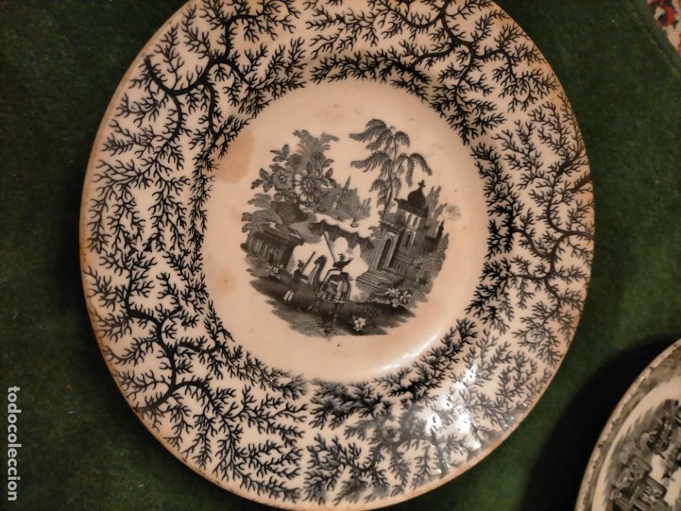 Antigüedades: Antiguos 6 plato / platos hondos de la Cartuja Pikman de Sevilla dibujo negro años 20-30 - Foto 47 - 235295325