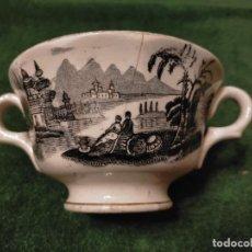 Antigüedades: ANTIGUA TAZA / TAZÓN DE LA CARTUJA PIKMAN DE SEVILLA DIBUJO NEGRO PARA CALDOS O CONSOMÉ AÑOS 20-30. Lote 235296575