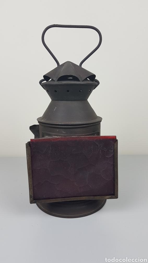 ANTIGUO FAROL DE MANO DE FERROCARRIL / TREN RENFE. H. MOZO VALLADOLID. S. XIX. (Antigüedades - Iluminación - Faroles Antiguos)
