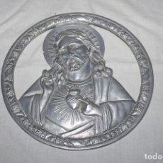 Antiguidades: ANTIGUO SAGRADO CORAZON DE JESUS - ALUMINIO - 20CM. Lote 235331465