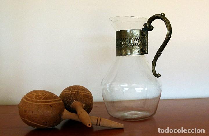 Antigüedades: PRECIOSA JARRA DE CRISTAL CON DECORACION DE ALPACA AÑOS 50-60 - VER FOTOS - Foto 25 - 234934740