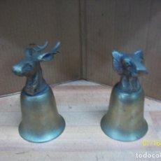 Antigüedades: PAREJA DE COPAS CON CABEZAS DE ANIMALES. Lote 235360995