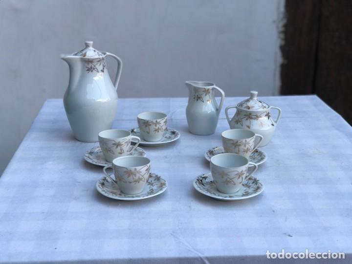 ANTIGUO JUEGO DE CAFÉ PORCELANA SANTA CLARA- 5 SERVICIOS (Antigüedades - Porcelanas y Cerámicas - Santa Clara)