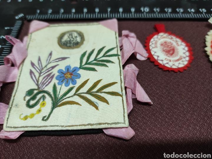 Antigüedades: Lote 9 Antiguos relicarios bordados - Foto 9 - 235462340