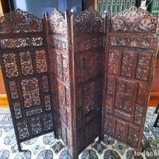 Antigüedades: BIOMBO ANTIGUO DE 4 HOJAS MADERA MACIZA TALLADO A MANO. Lote 235518465