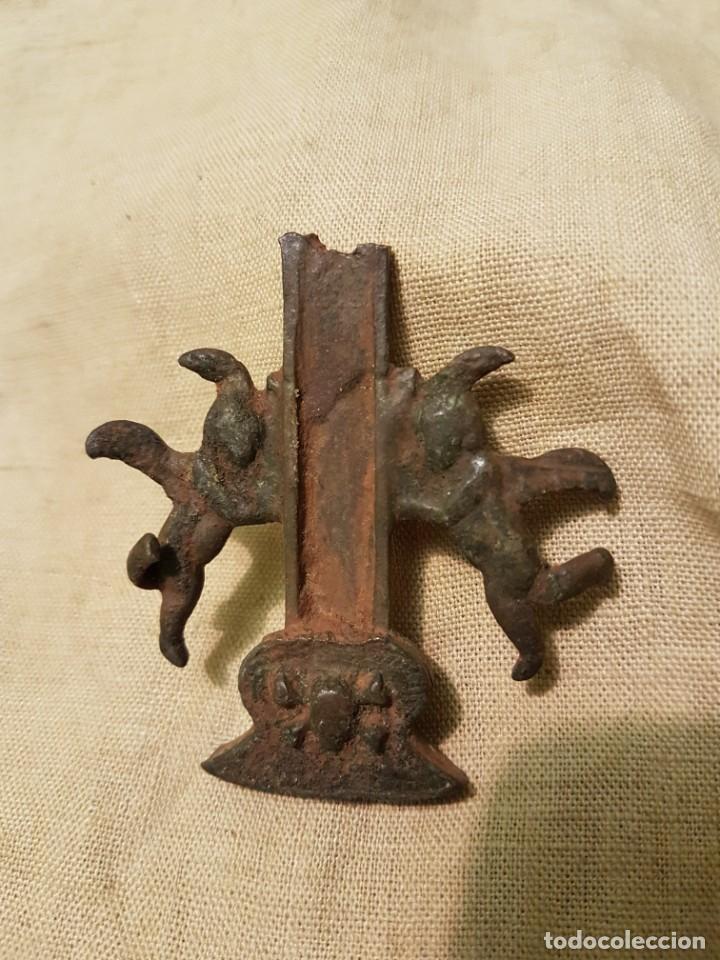 Antigüedades: Gran pieza final de antigua cruz caravaca angeles calavera - Foto 2 - 235542590