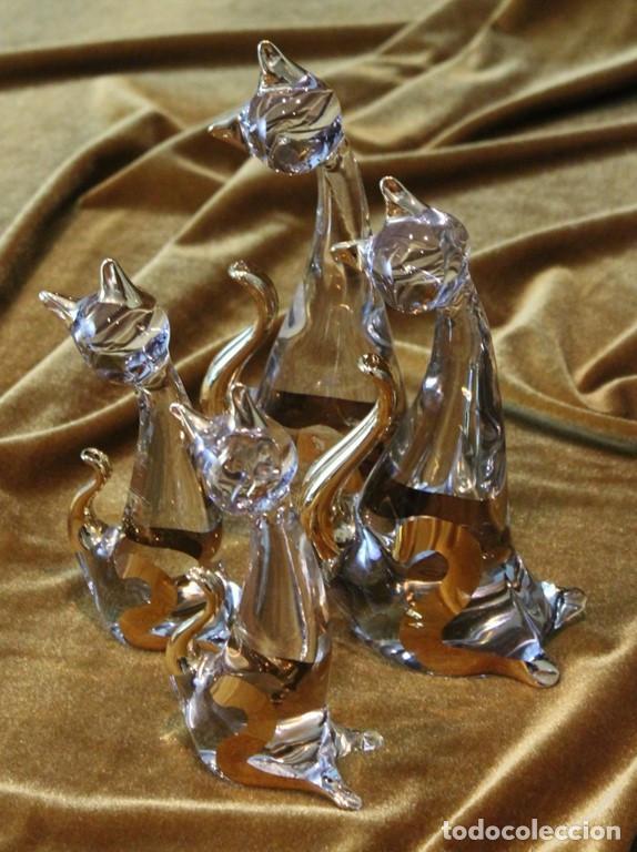 FAMILIA DE 4 GATOS, 2 GRANDES 19 CM, 2 PEQUEÑOS 15 CM, MURANO, MUY BUEN ESTADO (Antigüedades - Cristal y Vidrio - Murano)