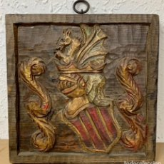 Antigüedades: ESCUDO DE MADERA TALLADA. Lote 235562055