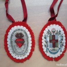 Antigüedades: ANTIGUO ESCAPULARIO DOBLE APOSTOLADO DE LA ORACIÓN PIO IX 14 JUNIO 1877. Lote 235613530