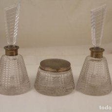 Antigüedades: JUEGO DE TOCADOR DE CRISTAL TALLADO Y PLATA DE LEY. Lote 268865689