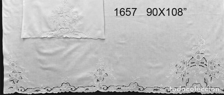 Antigüedades: Juego sabanas bordado.cama matrimonio.Algodon BLANCO 230 x 275 cm.1 funda alm. NUEVO - Foto 2 - 235658785