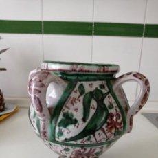 Antigüedades: TERUEL, ANTIGUO JARRO DE 4 ASAS CERÁMICA VIDRIADA PINTADO A MANO. Lote 235692085