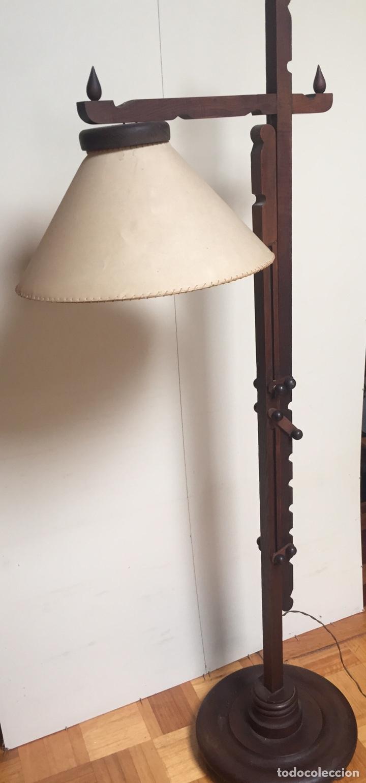 Antigüedades: Original lámpara alta de madera regulable - Foto 6 - 235702155