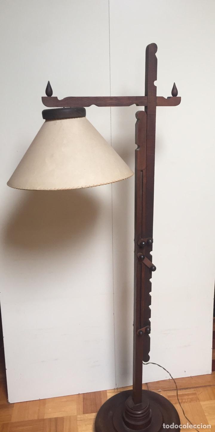 Antigüedades: Original lámpara alta de madera regulable - Foto 7 - 235702155