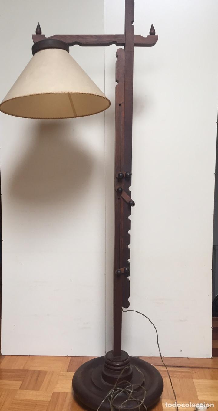 Antigüedades: Original lámpara alta de madera regulable - Foto 12 - 235702155