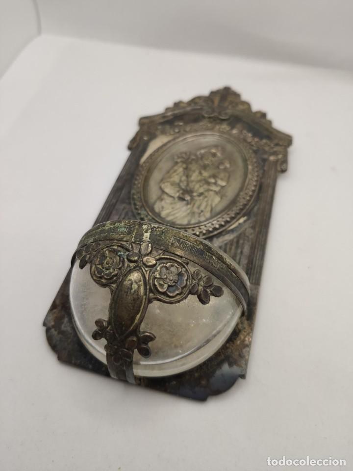Antigüedades: BENDITERA RELIGIOSA METAL Y CRISTAL ( RELIGION CRUZ CRISTO VIRGEN) - Foto 5 - 235719790