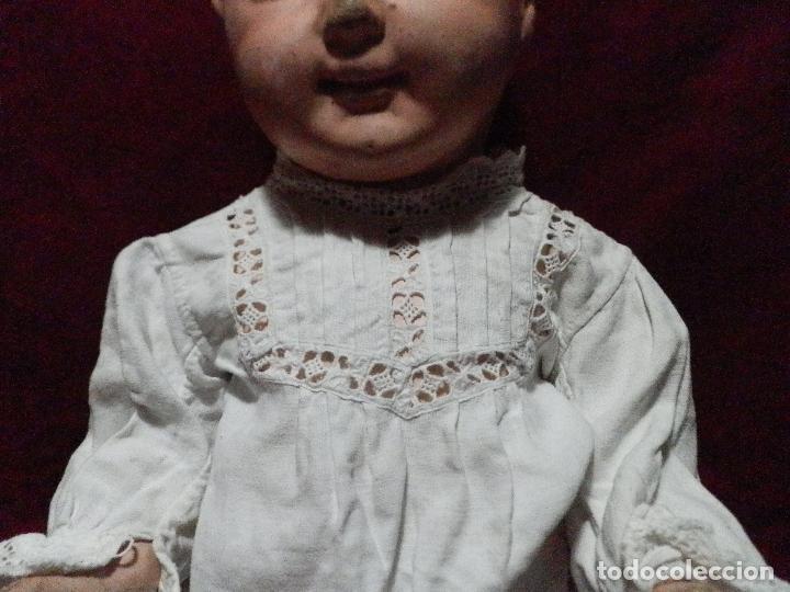ANTIGUA CAMISITA EN LINO PARA BEBE CON ENTREDOS Y PUNTILLA (Antigüedades - Moda y Complementos - Infantil)