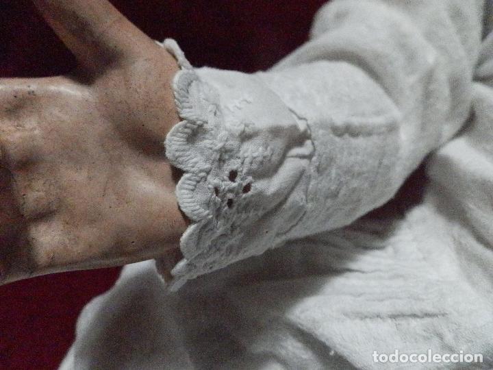 Antigüedades: ANTIGUO VESTIDO FALDÓN EN ALGODÓN PARA BEBÉ CON PUNTILLA BORDADA A MANO - Foto 3 - 235799420
