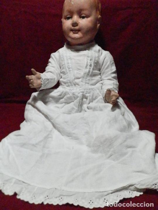 ANTIGUO VESTIDO FALDÓN EN ALGODÓN PARA BEBÉ CON PUNTILLA BORDADA A MANO (Antigüedades - Moda y Complementos - Infantil)
