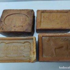Antigüedades: LOTE 4 PASTILLAS DE JABON .EL CABALLO ALHAMA DE ARAGON.KIMA BILORE.JABONERA HARO LA RIOJA.Y REBECA.. Lote 235800125