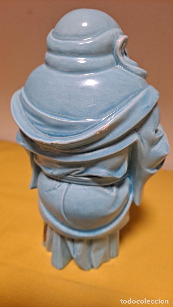 Antigüedades: FIGURA DE PORCELANA ALGORA VIDRIADA AZUL, DIOS SABIO - SELLADA EN BASE - Foto 7 - 235804340