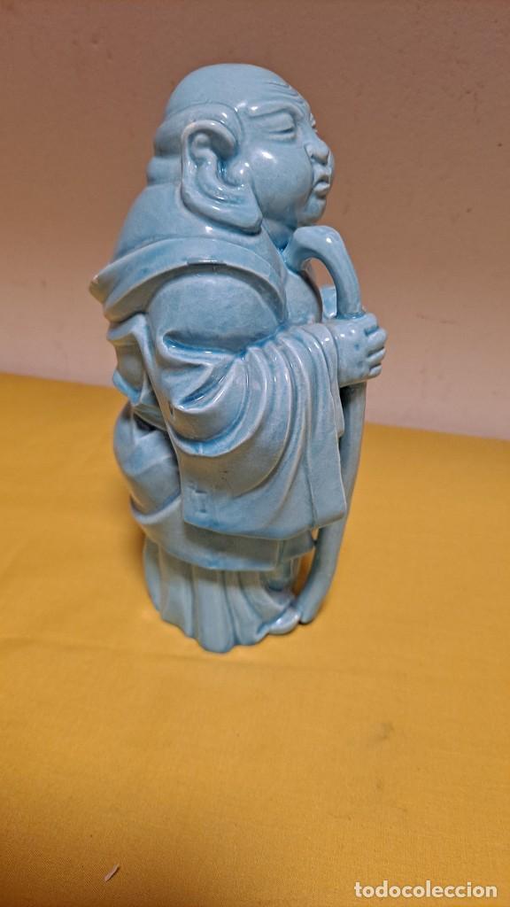 Antigüedades: FIGURA DE PORCELANA ALGORA VIDRIADA AZUL, DIOS SABIO - SELLADA EN BASE - Foto 9 - 235804340