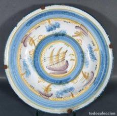 Antigüedades: PLATO EN CERÁMICA DE MANISES DECORADO CON BARCO SIGLO XIX. Lote 235811970