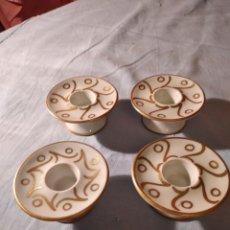 Antigüedades: LOTE DE 4 VELEROS CANDELABROS DE PORCELANA LANGENTHAL SUISSE,PINTADOS A MANO. Lote 235825760