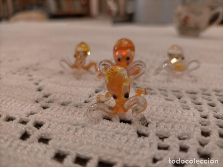 Antigüedades: Antiguas 4 figura / figuras de cristal de murano 4 pulpos de colores años 60-70 - Foto 3 - 235827120