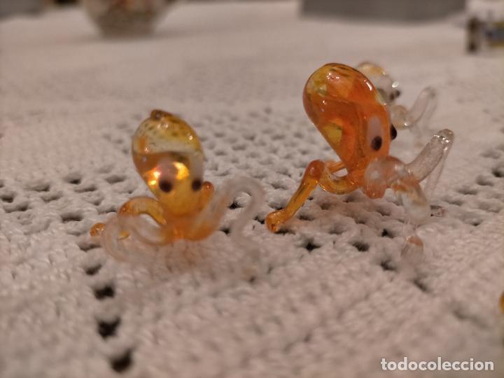 Antigüedades: Antiguas 4 figura / figuras de cristal de murano 4 pulpos de colores años 60-70 - Foto 5 - 235827120